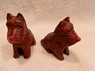Vintage Pair Wood Scottish Scottie Dog Salt & Pepper Shakers