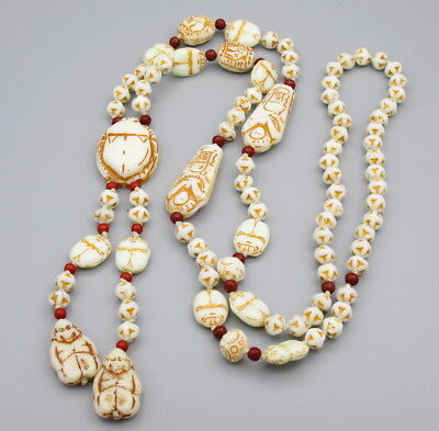 Egyptian Revival ,Czech, Art Deco, Max Neiger Mummy Scarab Glass Bead Necklace