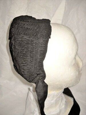 SALE! 1800s ANTIQUE BLACK MOURNING HAT BONNET Woman's Vintage Victorian