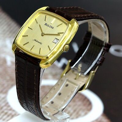 HTF Vintage Swiss Made Bulova Square 17Jewel Automatic Men's Watch QuickSet Date