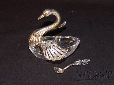 Sterling Silver & Glass Figural Swan 2 Compartment Salt Cellar & Spoon
