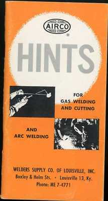1960 AIRCO HINTS For Gas & Arc Welding Pocket Brochure