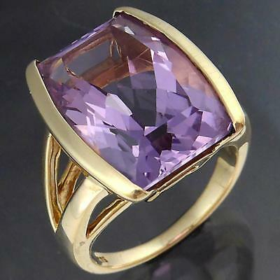 Modernist Solid 9k Yellow GOLD Fancy Cut Purple AMETHYST COCKTAIL RING Sz K