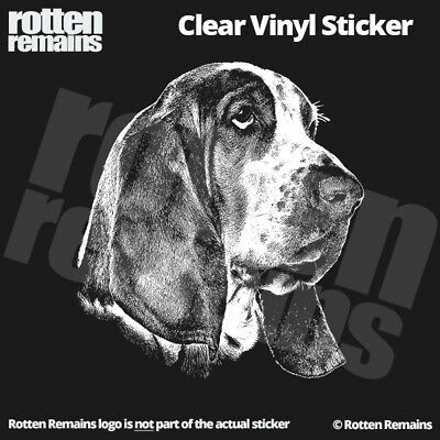 "Basset Hound 5"" Clear Gloss Decal Sticker Dog Sign Window Art Print Canine ZU1"