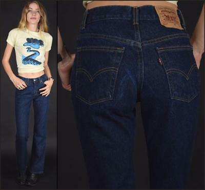 Vtg 80s dark denim LEVIS 517 made in usa COTTON basic boot cut jeans pants W28