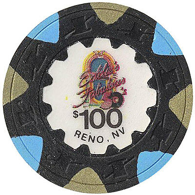 (1) Eddie's Fabulous 50's $100 Clay Casino Chip Reno Real Clay Obsolete CHIP *