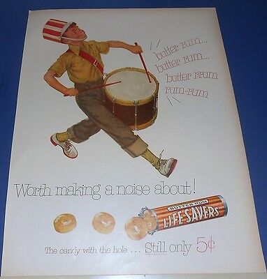1953 Life Savers Candy Ad DRUMS drummer boy ~ worth making a noise about!