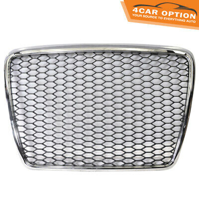 Fits 05-10 Audi A6 C6 RS Honeycomb Mesh ABS Front Hood Grille Grill Shiny Chrome