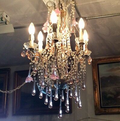 FRENCH TEARDROP CHANDELIER Antique 6 Light PINK CRYSTAL FLOWER Gorgeous Fixture!