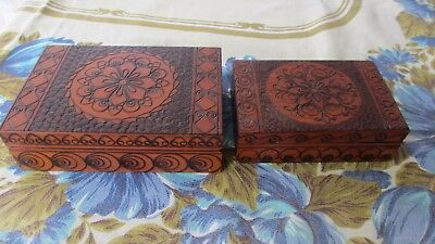 Vintage Polish Krakow Timber Carved Trinket  Jewellery boxes x 2