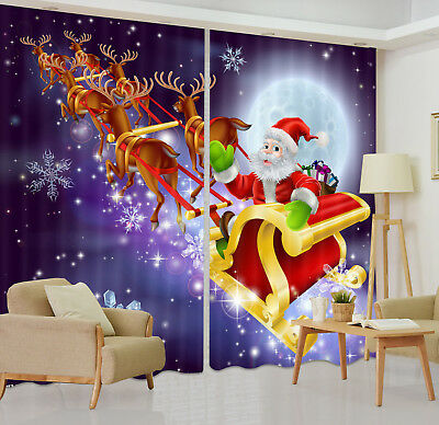 3D Santa Sending Xmas Gift Blockout Photo Printing Curtain Drape Fabric Window