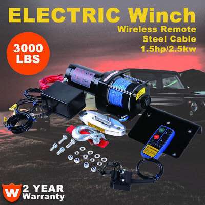 Electric Winch 3000lbs 12V Dyneema Rope 4WD ATV Boat Car Truck Wireless Remote