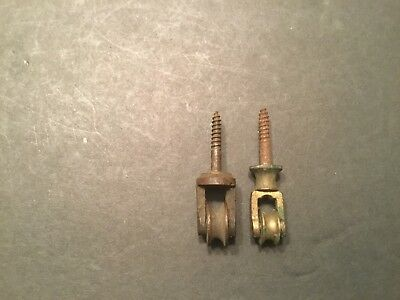 Two Vintage Small  Brass Bronze Pulleys