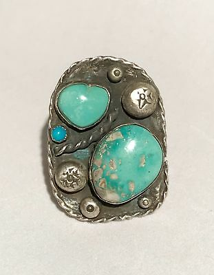 Vintage Large Sterling Silver Southwestern Turquoise Ring Signed L184