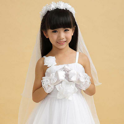 Girls White Satin & Lace Gloves Bridesmaids Flower Girl Communion Beauty Pageant