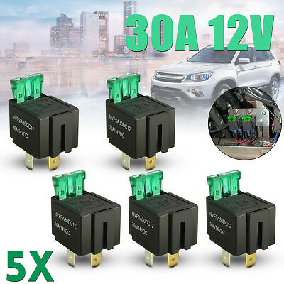5x 30A 12V CAR BOAT 4 PIN FUSE RELAY ON/OFF Fused Switch Automation Box Holder