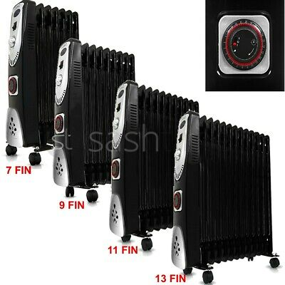 7/9/11/13 Fin Portable Electric Oil Filled Radiator Heater 3 Heat W Timer Home