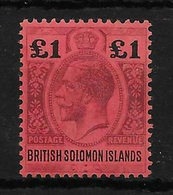 British Solomon Is. Sg38 1914 £1 Purple & Black On Red Mtd Mint