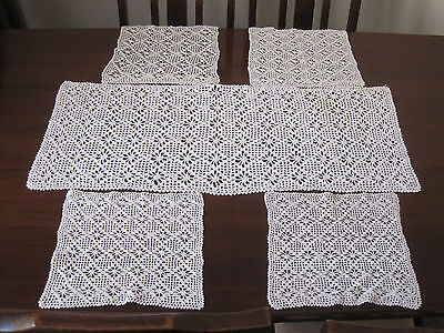 Four Hand Worked Crochet Lace Placemats With Rectangular Matching Runner