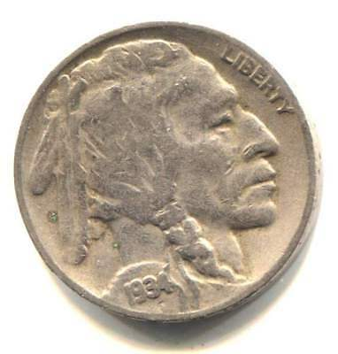 US 1934 D Indian Buffalo Nickel - American Five Cent Coin - Denver Mint