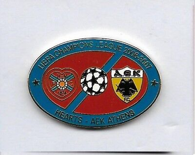 Heart of Midlothian v AEK Athens - Champions League 2006 - Match Pin Badge