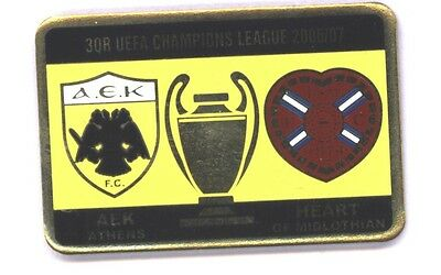 Heart of Midlothian v AEK Athens Champions League 2006 - Stick Pin Badge