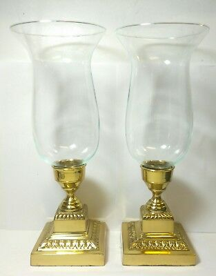 Brass Ornate Candle Holders Hurricane Lamps With Glass Chimneys