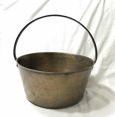 Antique 19th Century Spun Brass & Fixed Iron Handle Pot Or Kettle
