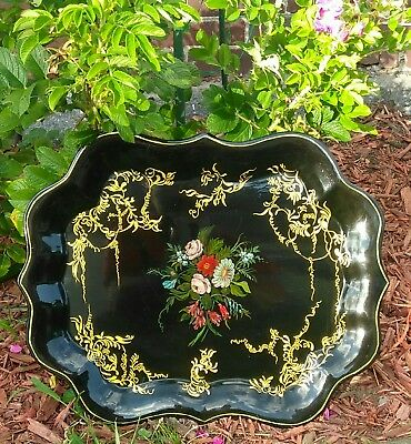Belle Norris Johnston Floral Gold Black Tole Painted Chippendale Form Metal Tray