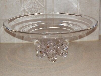 """Vintage Large Art Glass Clear Footed Bowl 13"""" Steuben 6 Pics"""