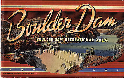 Boulder Dam & Boulder Dam Recreational Area Vintage Color Photo Booklet