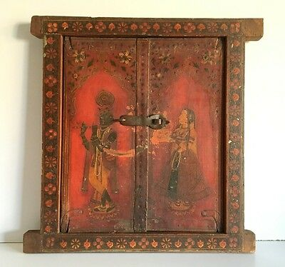 19th C Ancient Indian Haveli Palace Fine Miniature Painting Window Door Frame