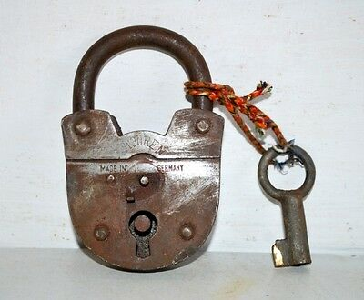 1800's Antique Indian Old Iron 2 Touren Pad Lock & Key Working Made in Germany