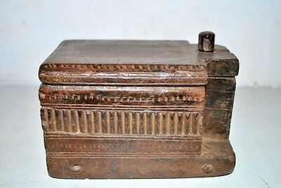 1810' s Antique Old Rare Original  Wooden Hand Carved South Indian Spices Box