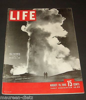 August 19, 1946 LIFE Magazine; Yellowstone; old advertisments ad + FREE SHIPPING