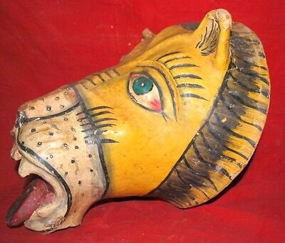 Antique Old Rare Paper Mache Hand Crafted  Decorative Lion Head Face Mask