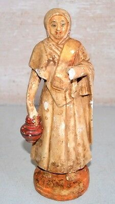 Old Antique India Terracotta Clay Hand Crafted Lady Saint Monk Priest Statue