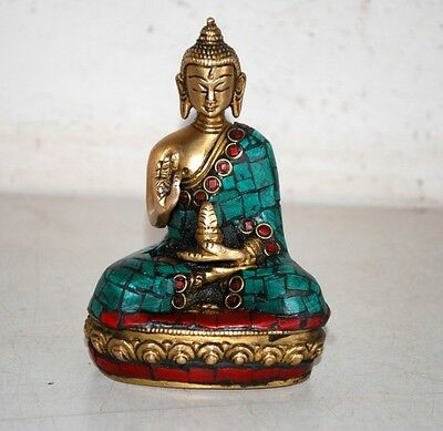 Vintage Old Rare Brass Lord Buddha Statue Figure Sculpture-Rich Patina