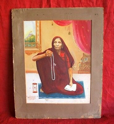 Vintage Portrait Indian Old Lady With Prayer Beads Hand Oil Painting On Paper