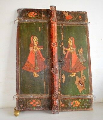 18' C Indian Antique Original Wooden Miniature Queen Painting Window Door