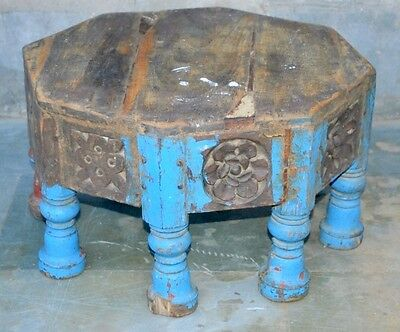 1850's Antique Old Wooden Hand Carved Bird Elephant Figure 8 leg Coffee Table