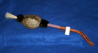 "Native American Turtle Shell Rattle w/ Horsehair & Bead Wrap Artifact 16"" L #01"