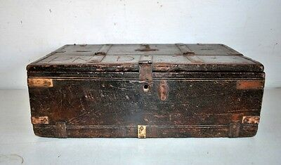 1850's Antique Indian Old Iron Hand Carved Wooden Brass Beautiful Treasur Box