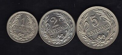 Uruguay Series 1936, 1, 2 And 5 Centesimos ,copper Nickel Unc. Condition