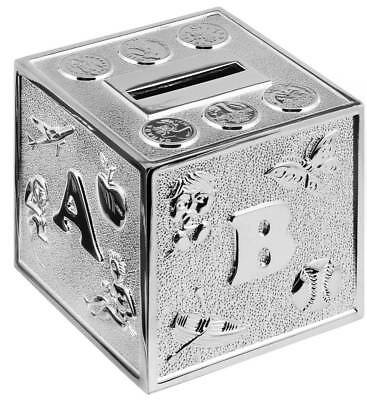SILVER PLATED ABC CUBE MONEY BOX - Christening Gift - Silver Plate Money ABC Box