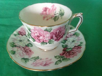 Bone China Cup & Saucer By Crown Staffordshire Trinity Rose White Pink Roses