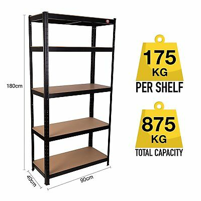 Heavy Duty Shelving 5 Tier Garage Workshop Racking Boltless Storage Unit Shelf