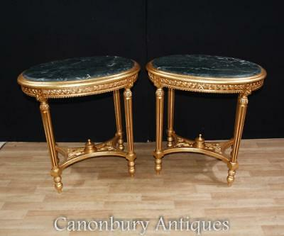 Pair French Empire Gilt Side Tables Occasional Table