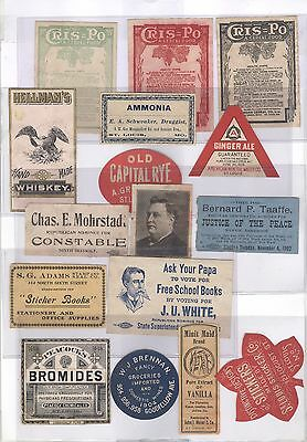 16 Genuine Different Early 1900's Labels from St. Louis, MO