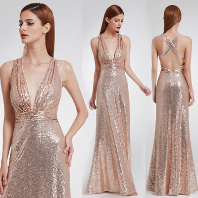 Rose Gold Formal Evening Dress Sexy Sequins Prom Party Dress 07109 Ever-Pretty